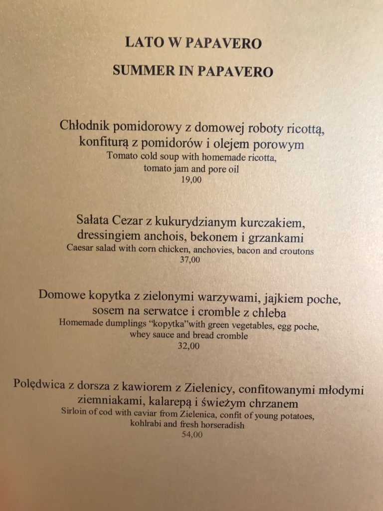 Papavero letnie sezonowe menu